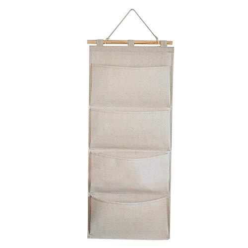YuuHeeER Bolsa de almacenamiento de tela de lino para colgar en la puerta del armario de la pared para libros, color beige y blanco