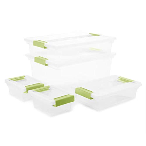 Sterilite Clear Clip Box Plastic Stackable Storage Container Bins Set with Latching Lid (5 Pack)