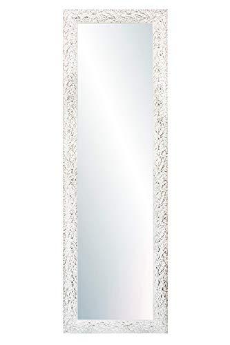Chely Intermarket, Espejo de Pared Cuerpo Entero 35x140cm(41x146cm)/Blanco y plateado/Mod-131,Aptos para peluquerías, salón, recibidor, Dormitorio y oficinas. Made in Spain-Material Madera.