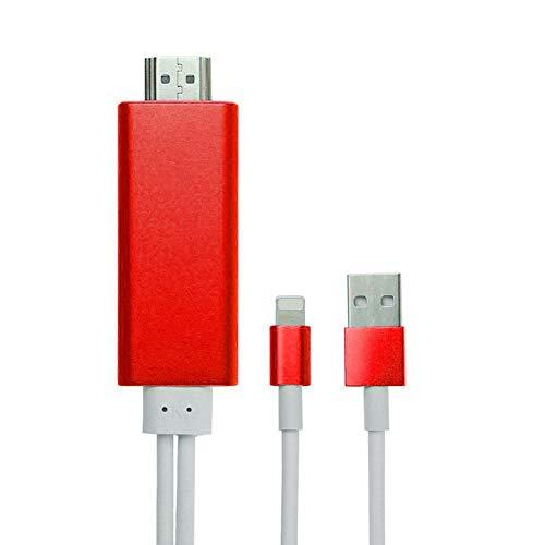 8 Pin Lightning naar HDMI HDTV AV Kabel Adapter Converter voor iPhone5/5S/6/6Plus/6S/6SPlus/SE, Aluminium Geen Jailbreak Ondersteuning Opladen (Rood)