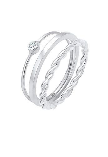 Elli Anillos para mujer con solitario y cristales de Swarovski® en plata de ley 925