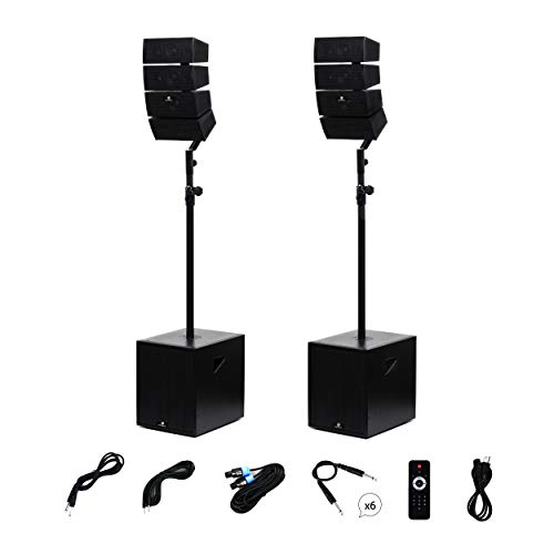 PRORECK Club 3000 12-Inch 4000 Watt DJ/Powered PA Speaker System Combo Set with Bluetooth/USB/SD Card/Remote Control (Two Subwoofers and 8X Array Speakers Set)