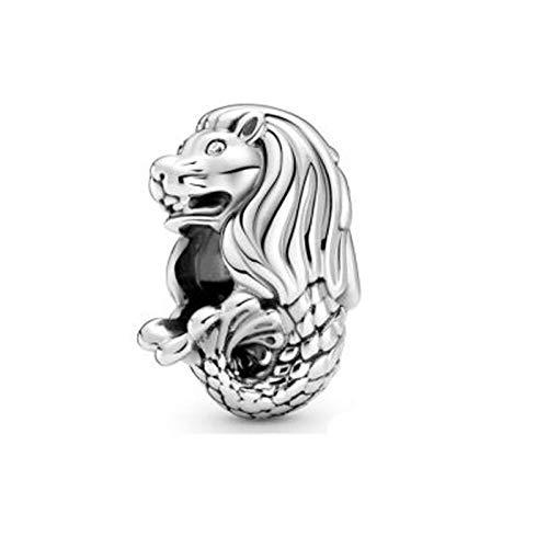 Pandora 925 plata esterlina colgante DIY plata esterlina Singapur Merlion encantos granos ajuste original pandora encanto pulsera para joyería regalo