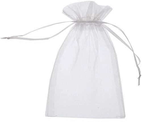 SYOUHOKU 100枚 無地オーガンジー 巾着袋 ジュエリー収納 アクセサリー 小物入れ ラッピング袋 小物収納袋 (7*9)