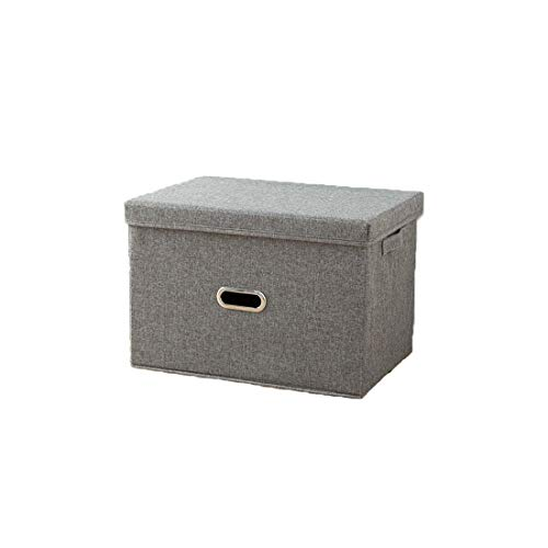 WSGYX Cotton Linen Foldable Storage Cubes Drawer Box Storage Fabric Finishing Household (8 Colors,5 Sizes (Color : Light Grey, Size : Cardboard 58x40x35cm)