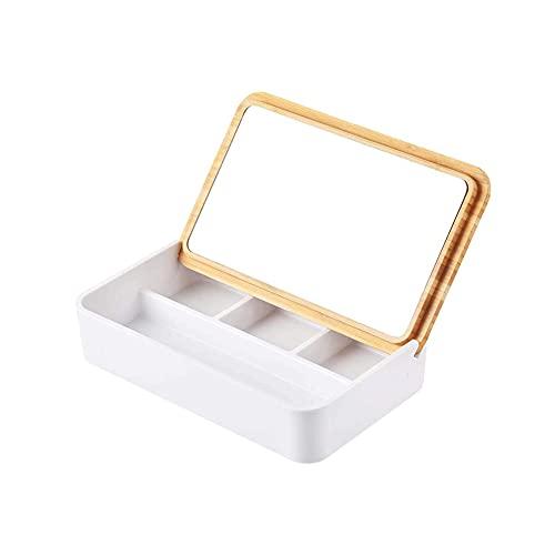 Bdesign Mini Caja de Almacenamiento cosmética de Madera pequeña con Espejo, Adecuado para el Almacenamiento de Joyas y cosméticos para niñas Madre (Color : White)