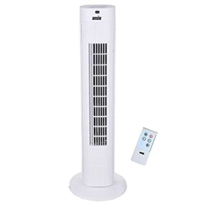 ANSIO Tower Fan 30-inch with Remote For Home and Office, 7.5 Hour Timer, 3 Speed Oscillating Fan with 2 Year Warranty - White