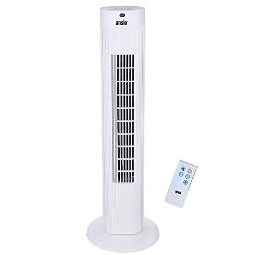 Oszillierender Turmventilator mit Fernbedienung Säulenventilator 75 CM / 30 Zoll 3-stufiger Windmodus mit 3 Geschwindigkeiten und langem Kabel (1,75 m) Weiß (Batterien NICHT im Lieferumfang enthalten)
