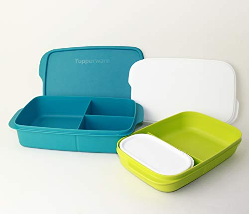 TW Tupperware Clevere Pause Lunchbox 1L Türkis + 590ml Limette + 120ml Türkis Brot + Faltsieb schwarz