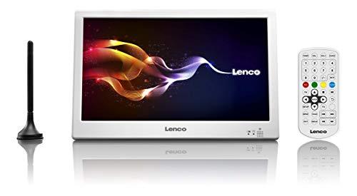 Lenco TFT-1028 10-Zoll Tragbarer HD TV mit DVB-T2 - LCD Fernseher mit Multi-Media Player und USB - Digital & Analog TV für Küche, Schlafzimmer oder den Wohnwagen - Integrierter Akku - Weiß