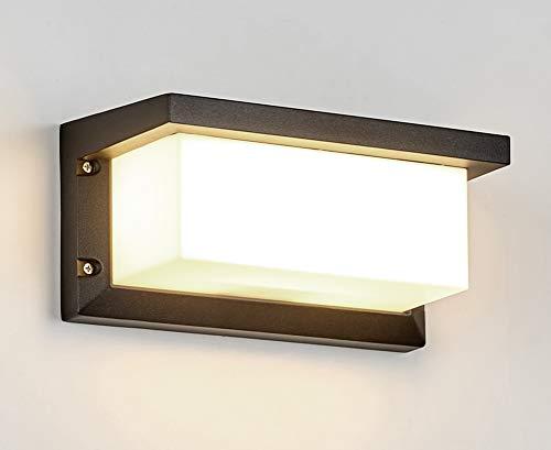 HAOFU 12W Apliques de Pared Exterior LED Lámpara de Pared Impermeable IP65 Luz de Aluminio Iluminación para Balcón, Jardín, Porche, Camino, Patio, Negro 3000K(blanco cálido)