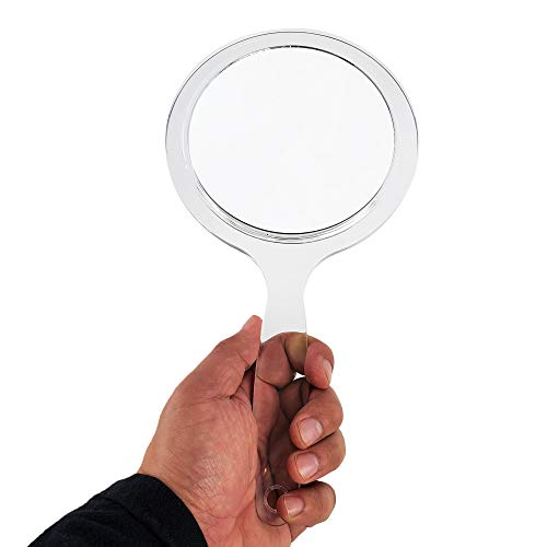 RUCCI Round Hand Held Magnifying Makeup Mirror 10X 1X Clear Acrylic Double-Sided Mirror with Handle