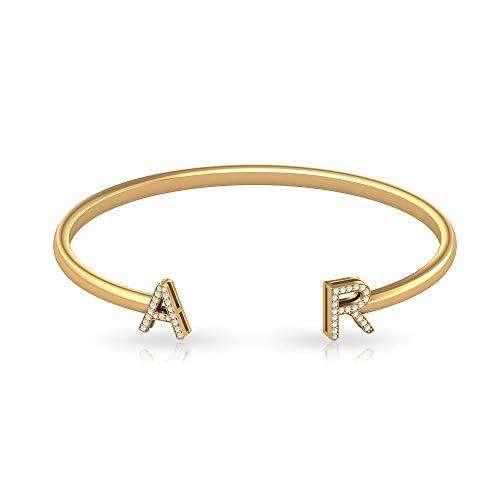 IGI - Pulsera con letra de diamante, certificado por letras, oro, alfabeto inicial, pulsera personalizada para mujer, 14K Oro amarillo 6 Inches