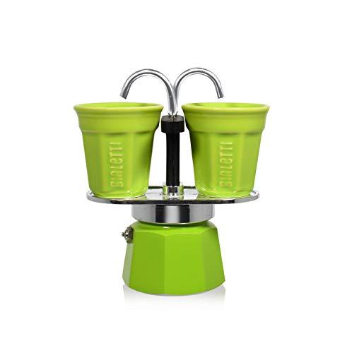 Bialetti 6192 Set Mini Express mit 2 Espressobechern, grün