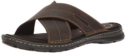 Rockport Men's Darwyn Xband Slide Sandal, Brown Leather, 11 M US
