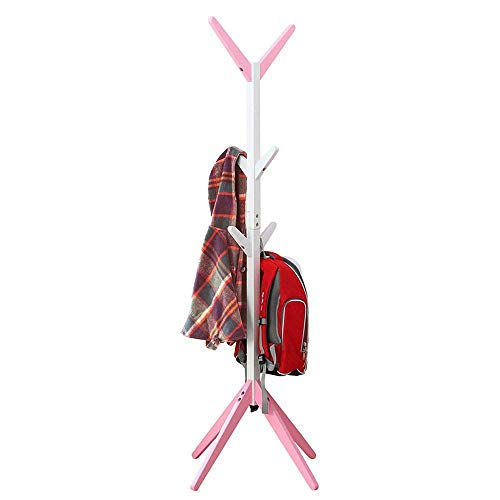 POETRY garderobe mode boom vorm massief hout garderobe grenen opknoping hanger frame omgeving schilderij afgeronde hoeken stevig en sterke 6 haken roze