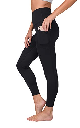 Yogalicious Lux High Waist Elastic Free Side Pocket Ankle Legging - Black - Large