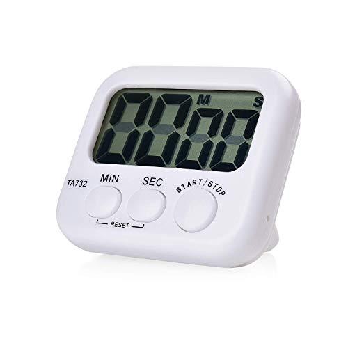 XGG Digitale Küchenuhr - Küchen-Digitalanzeige Count-up oder Count-down-Timer - Magnetrücken, große Ziffern, Tischaufstellung, einfache Bedienung, lauter Alarm, weiß