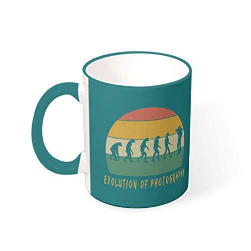Tentenentent Taza de cereales con asa, diseño de evolución de la fotografía, taza de cerámica, retro, regalo para fotógrafo, regalo para hombre, para casa, 330 ml