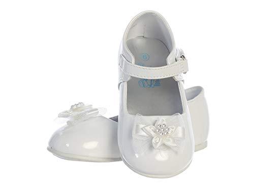 Swea Pea & Lilli Baptism Shoes for Girls - White Dress Shoes Baby Girl Christening - Zapatos de Bautizo para Niña (Size 2)