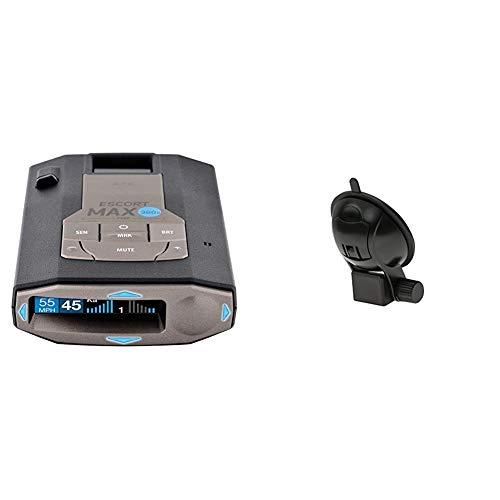 Escort MAX360C Laser Radar Detector, Black & EZ Mag Mount - StickyCup Silicon Suction Cup (Black) for Escort Models IX, IXC, Max 360c, Redline EX, Max 3, and Max 360