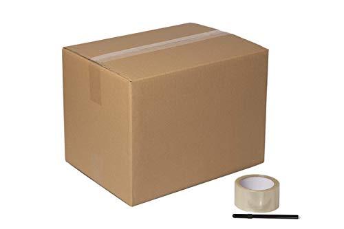 DeCampos - 20 Cajas Carton Mudanza 40x30x30 cm + Precinto + Marcador | Caja Almacenaje con Capacidad para 36 L | Caja Carton Kraft Canal Doble Resistente | 20 Unidades + Precinto + Marcador