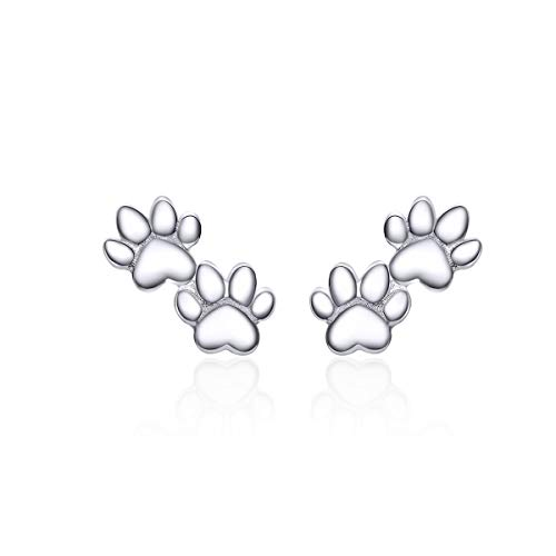 Lovely Puppy Paw Print Stud Earrings Sterling Silver for Women Girls Cute Animal Dog Pet Earring Ear Studs Piercing Hypoallergenic Fashion Jewelry