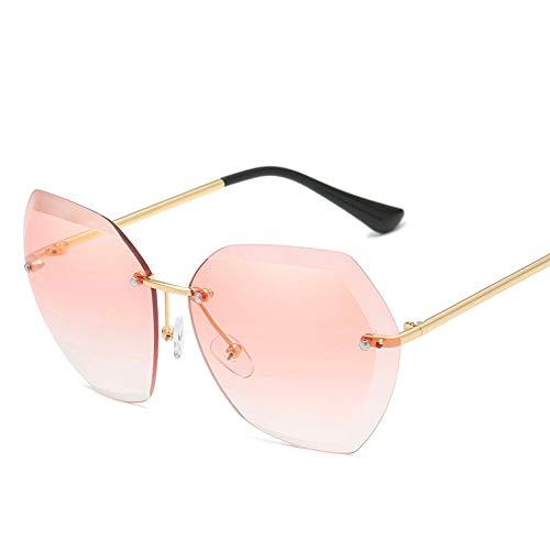 2019 sin montura Gafas de sol de las Mujeres de la Marca del Diseñador Vintage Marrón Degradado Gafas de Sol UV400 Gafas Accesorios Oculos