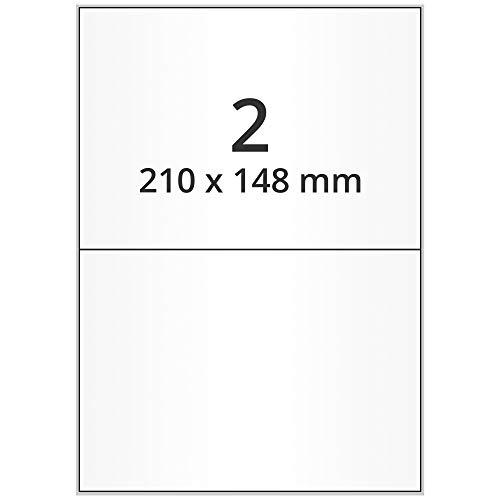 Labelident Laseretiketten selbstklebend auf DIN A4 Bogen - 210 x 148 mm - 1000 Universal Etiketten weiß, matt, 500 Blatt Papier Laserdrucker Etiketten