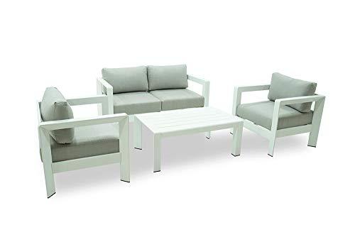 Juego de sofá de jardín completo de exterior con sofá de 2 plazas con 2 sillones y mesa, estructura blanca de aluminio y cojines grises