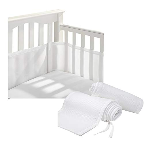 HBIAO Crib Liner Bumper, Breathable Baby Mesh Crib Pad Suitable for 4 Panels and Cribs,White