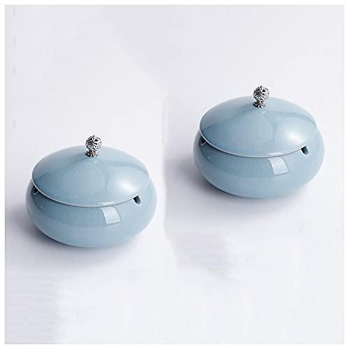 Cenicero Resistente al Viento Cenicero de cerámica con tapas, hecho a mano, cenicero portátil para uso en interiores y exteriores, para decoración de oficina, regalos(2 piezas),Azul