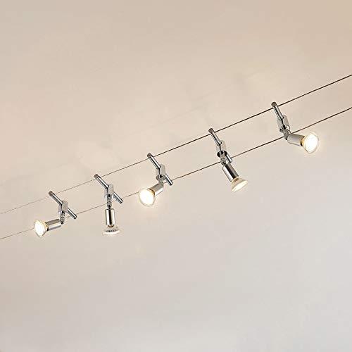 Lindby Seilsystem Leuchte 'Rope' (Modern) in Chrom u.a. für Wohnzimmer & Esszimmer (5 flammig, GU5.3 / MR16, A+, inkl. Leuchtmittel) - Seilleuchte, Hängeleuchte, Deckenleuchte