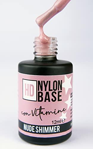 Nude Shimmer – Base Soak Off modelante fortalecedor de uñas con fibras de nailon, con polvo de luz brillante, vitaminas y calcio – Técnica semipermanentemente con refuerzo – 12 ml | Beauty Space Nails