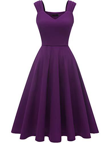 DRESSTELLS Petticoat Kleider a Linie cocktailkleid Damen Festliche Kleider Violett Partykleider Grape 2XL