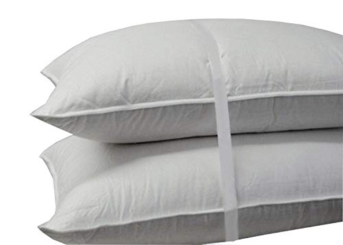 Royal Bedding Luxury Down Pillow - 500 Thread Count 100% Cotton Shell, Standard Size, Firm, Set of 2