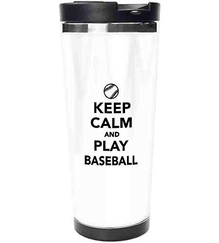 Travel Mug-Spielen Sie Baseball Phrase Sports Theme mit der Kugel Figur Monochrom Piktogramm Edelstahl Kaffeetasse & Tasse-Thermal Cup mit Spritzwassergeschütztem Schiebedeckel-14 Unzen