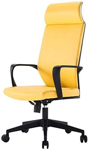 PULLEY Height Adjustable PU Leather Manager Office Chair With Torsion Control,Home Office Chair Boss Chair, Supervisor Chair, Staff Chair Ergonomic Chair (Color : Yellow)