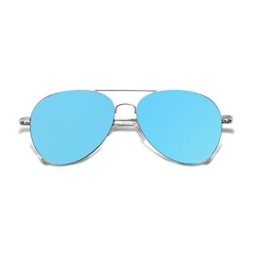 SOJOS Mode Flieger Metallrahmen Verspiegelt Linse Unisex Piloten Sonnenbrille mit Frühlings Scharnieren SJ1030 mit Silber Rahmen/Blau Linse