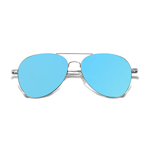 SOJOS Classic Aviator Mirrored Flat Lens Sunglasses Metal Frame with Spring Hinges SJ1030 with Silver Frame/Blue Mirrored Lens