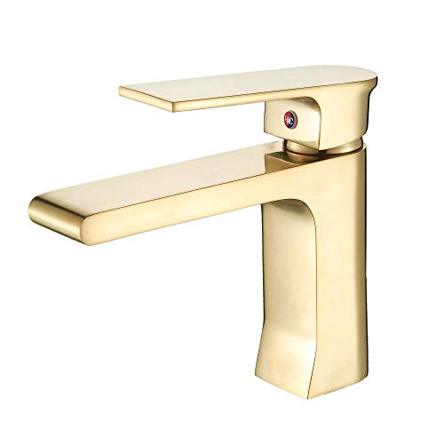 Baño lavabo grifo para baño sola palanca cepillado oro mezclador baño fregadero gudetap GT7508BG