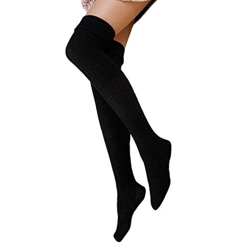 Cindeyar 1 Paar Damen Overknee Strümpfe Lange Kniestrümpfe Retro Schüler Überknie Strick Socken (Herbst und Winter, Schwarz)