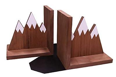 Mountain Bookends|Wooden Rustic Design|Non Slip Skid|Heavy Duty|Office|Desktop|Nursery Decor|Baby Room|Nature|Outdoor Cabin Style|Grey (Brown)