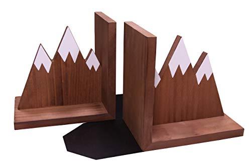 Mountain Bookends Wooden Rustic Design Non Slip Skid Heavy Duty Office Desktop Nursery Decor Baby...