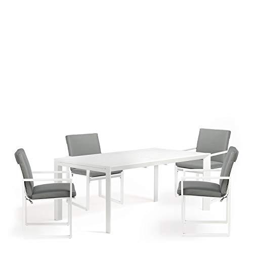 SKLUM Pack Mesa Extensible para Exterior (180 cm - 240 cm) Starmi & 4 Sillas con Reposabrazos de Exterior Fhati Aluminio Blanco - (Elige Color)