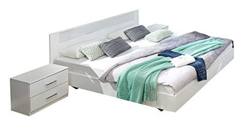 Wimex Schlafzimmer Set mit Bett, Nachttisch/ Nachtschrank 2-er Set Pamela, (B/H/T) 294 x 210 x 81 cm, Weiß  / Absetzung   absetzungen glas Weiß und chrom