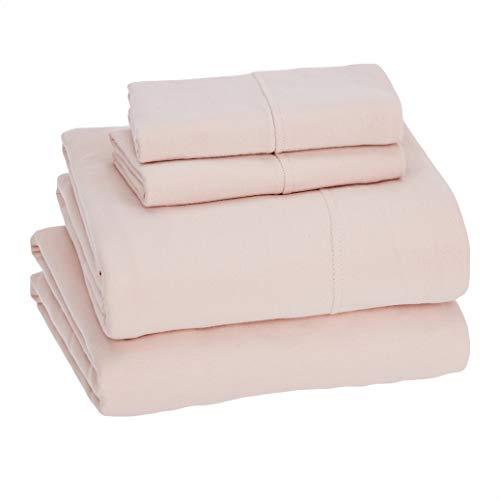 Amazon Basics Cotton Jersey Bed Sheet Set - King, Blush