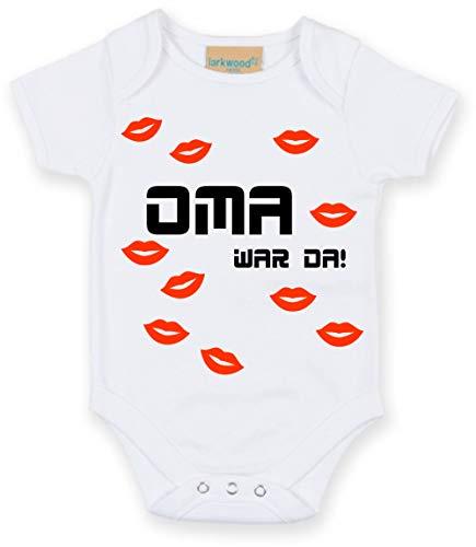 Body mit Namen | Motiv Oma war da & Küsse | Personalisieren & Bedrucken | für Mädchen & Jungen Kurzarm Baby-Strampler inkl. Namensdruck