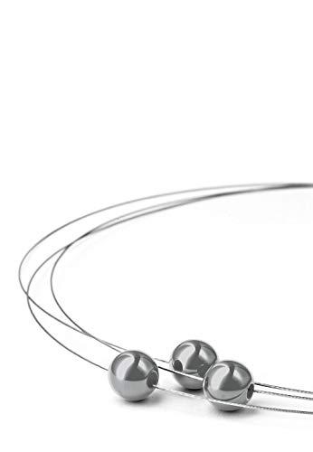 Heideman Halskette Damen Florere III aus Edelstahl Silber farbend matt Kette für Frauen mit Swarovski Perlen schwarz 10mm und Längen 40cm Perlenschmuck Brautschmuck
