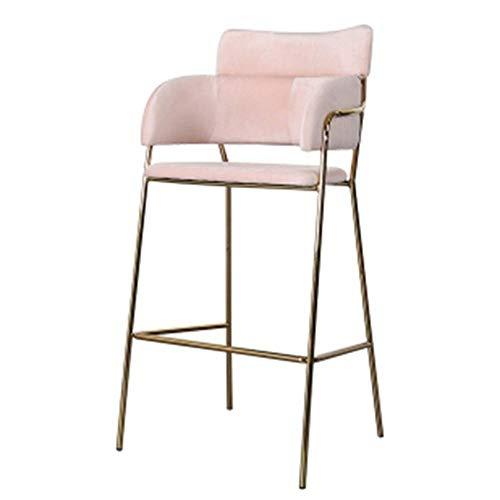 Barkruk barstoel modern Simplicity eetkamerstoel Nordic velvet hoge kruk met gouden metalen poten verschillende kleuren naar keuze roze
